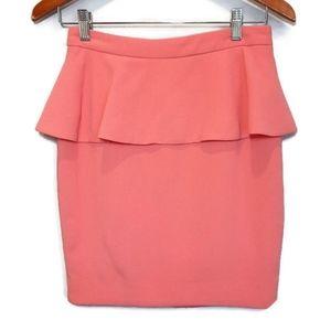 ⭐ FOREVER 21 Coral Crepe Peplum Mini Skirt Pink Feminine Short Satin Lined